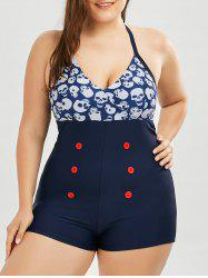 Plus Size Skulls Print One Piece Swimsuit