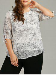 Plus Size Self-Tie Printed Chiffon Flowy Top
