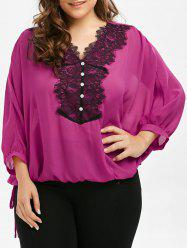 Plus Size Batwing Sleeve Lace Trim Blouse