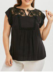 Plus Size Tie Front Crochet Panel Blouse