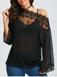 Flare Sleeve Skew Collar Lace Insert Blouse - BLACK