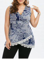 Lace Trim Polka Dot Plus Size Top -