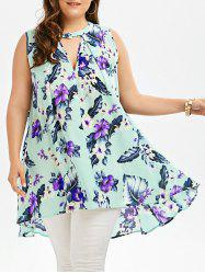 Floral Sleeveless Plus Size Tunic - LIGHT GREEN