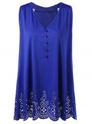 Plus Size Bowknot Openwork Scalloped Tank Top - BLUE 2XL
