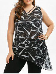 Sleeveless Printed Asymmetrical Chiffon Plus Size Top