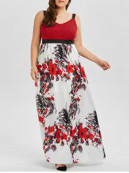 Floral A Line Maxi Plus Size Prom Dress - COLORMIX