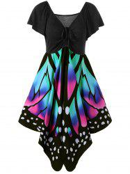 Butterfly Graphic Dress - BLACK AND PINK M