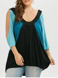 Plus Size Color Block Open Shoulder Swing T-shirt - MEDIUM BLUE