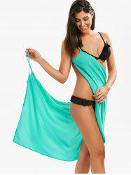 Double-Deck Chiffon Wrap Sarong Beach Cover Up - LIGHT BLUE