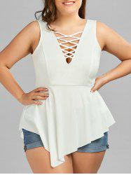 Crisscross Asymmetrical Plus Size Top - WHITE 5XL