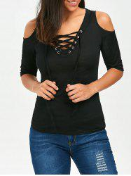 V Neck Lace Up Cold Shoulder Tee -