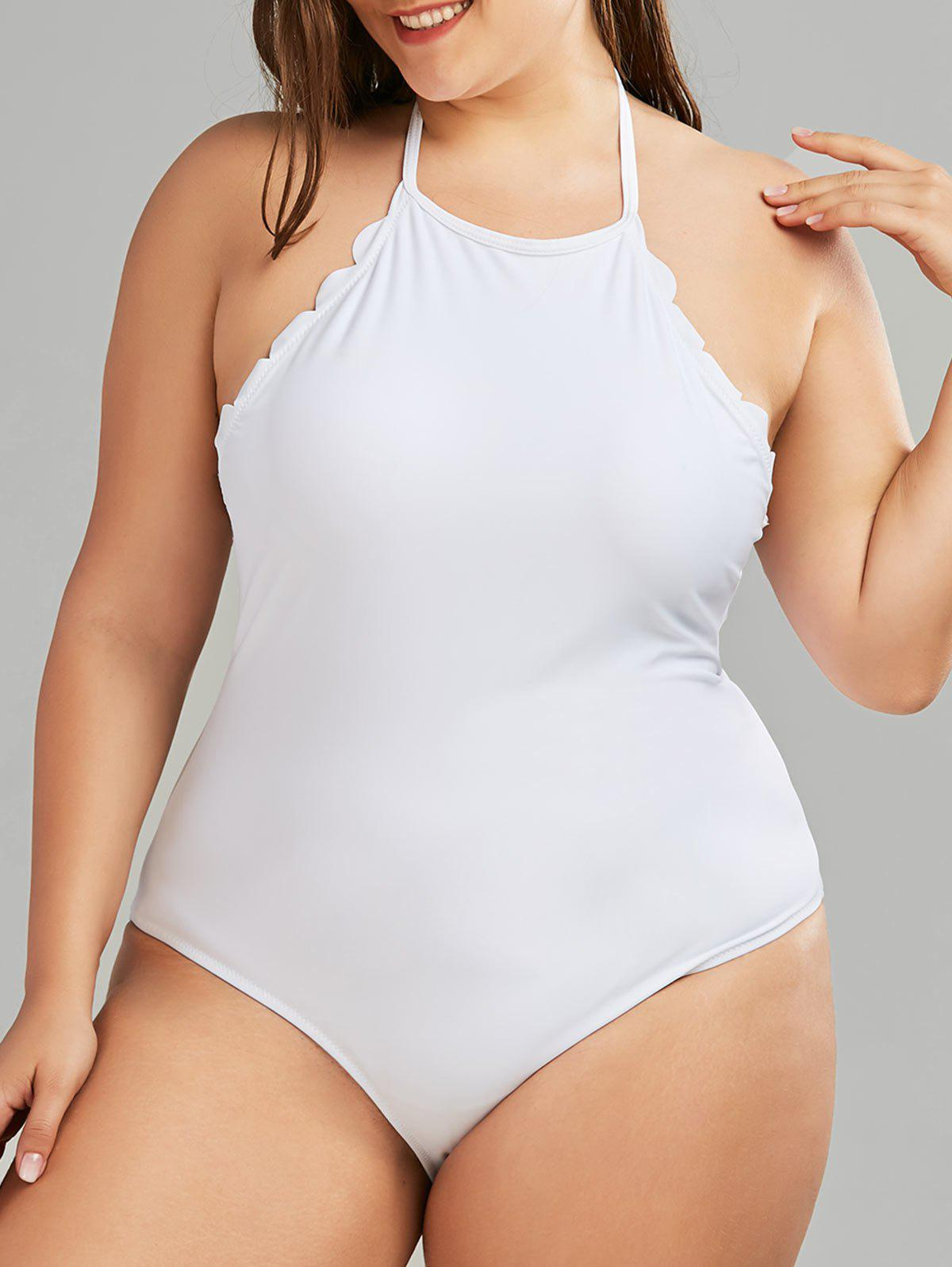2f52d73d9c 2019 One Piece Plus Size Scalloped Backless Swimsuit