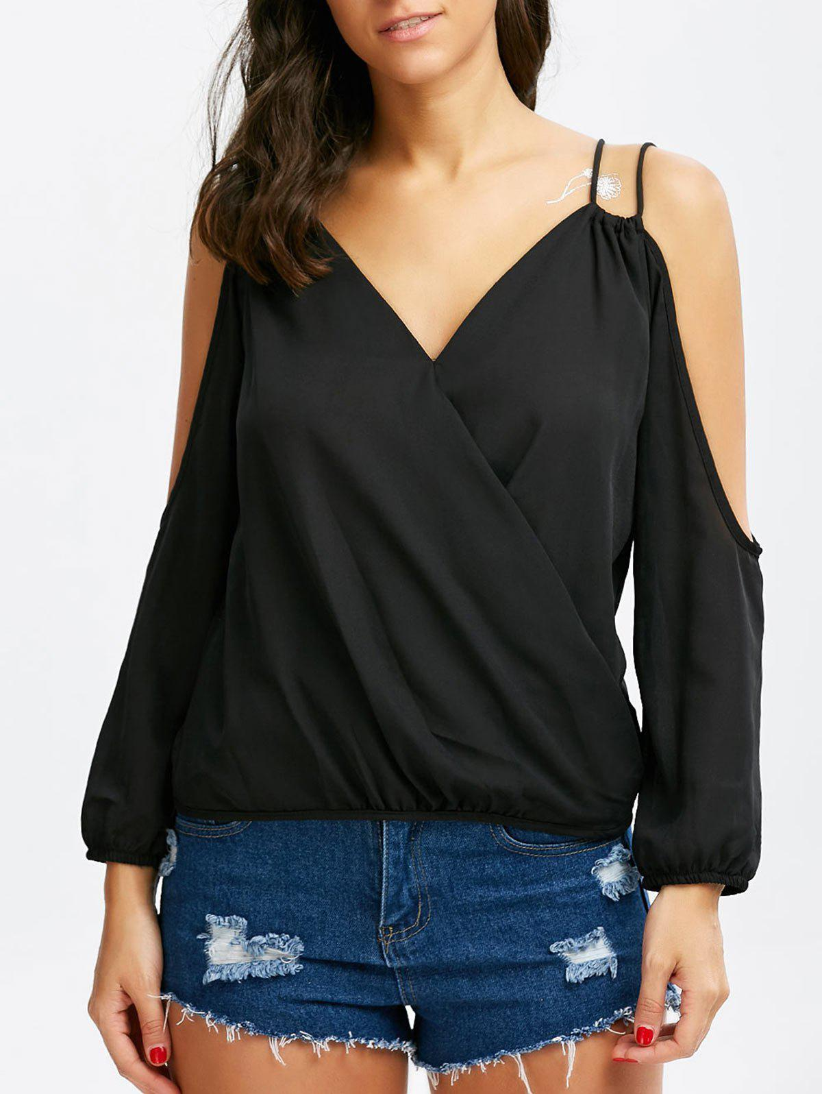 Store Cold Shoulder Surplice Strappy Blouse