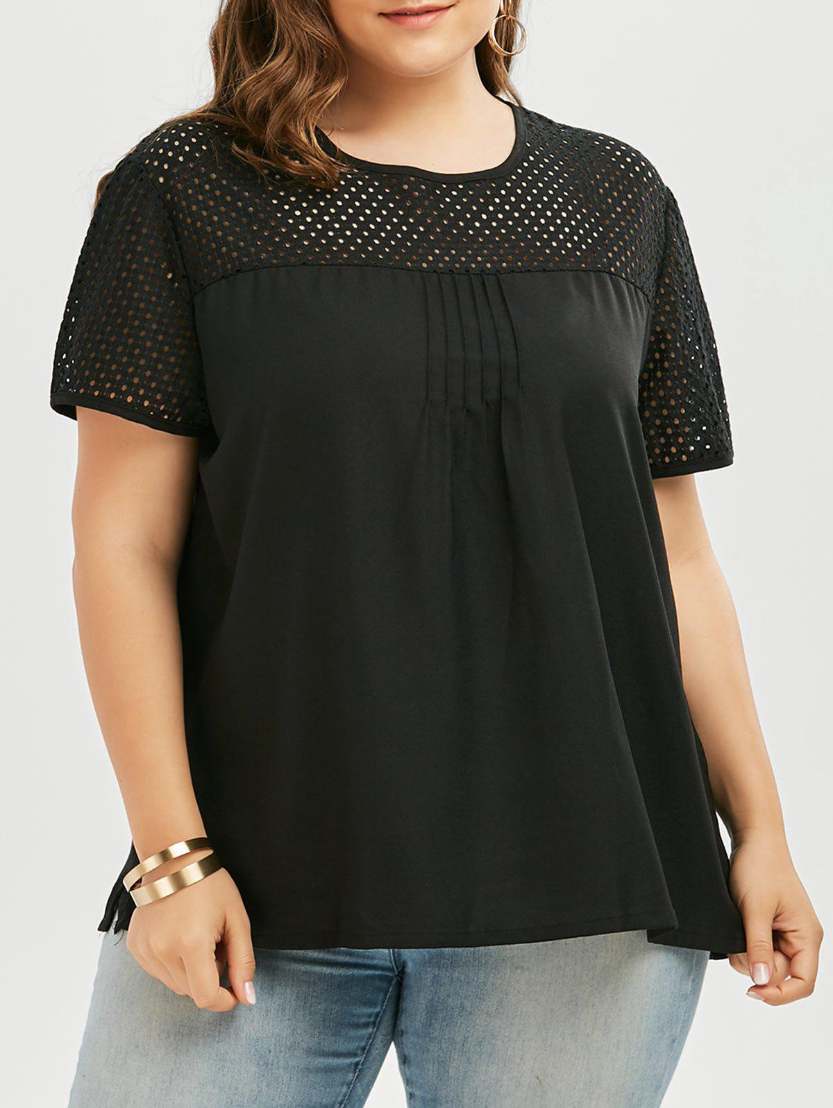 ebbcd3bb711dd Affordable Openwork Round Neck Plus Size Plain T-Shirt