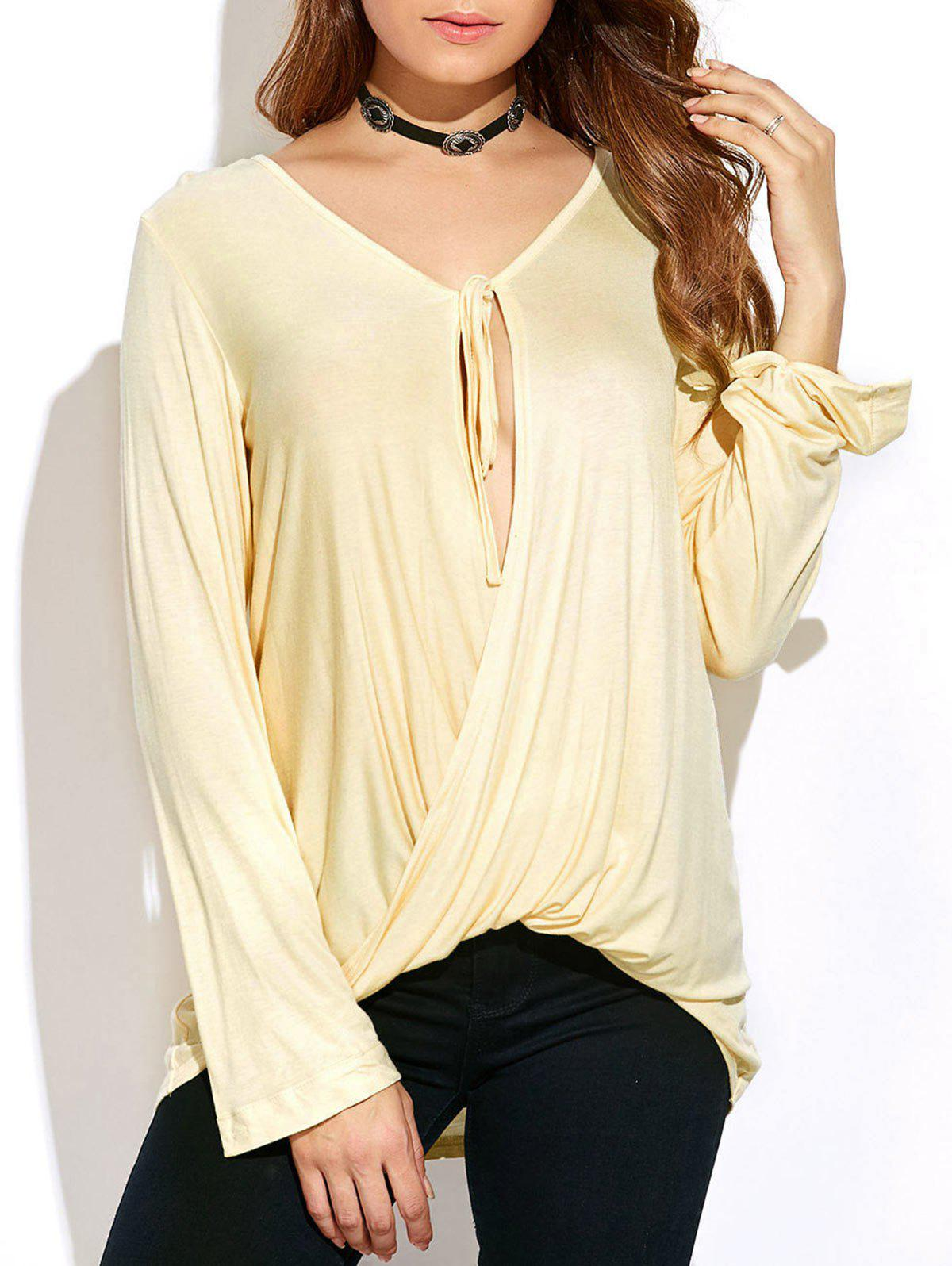Buy Long Sleeve Tie Neck Twisted T-Shirt
