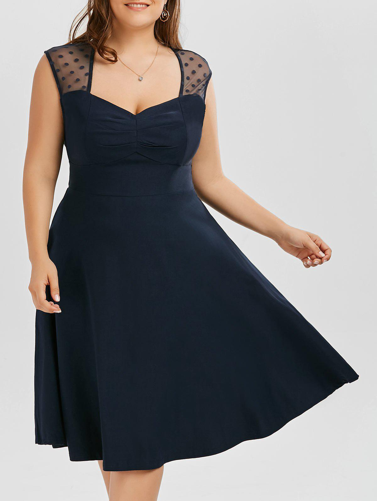 A Line Mesh Trim Plus Size Sweetheart DressWOMEN<br><br>Size: 5XL; Color: PURPLISH BLUE; Style: Brief; Material: Polyester; Silhouette: A-Line; Dresses Length: Knee-Length; Neckline: Sweetheart Neck; Sleeve Length: Sleeveless; Pattern Type: Polka Dot; With Belt: No; Season: Summer; Weight: 0.5200kg; Package Contents: 1 x Dress;