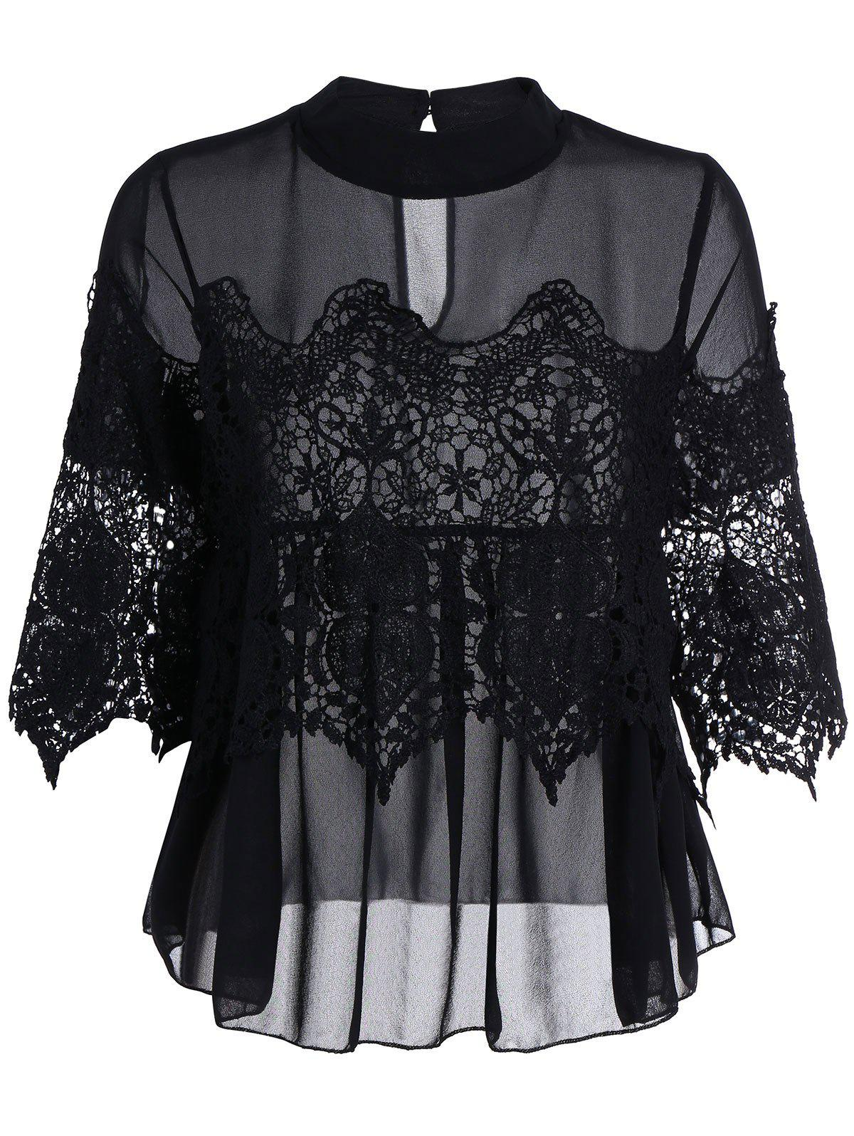 Discount See Thru Lace Insert Chiffon Top
