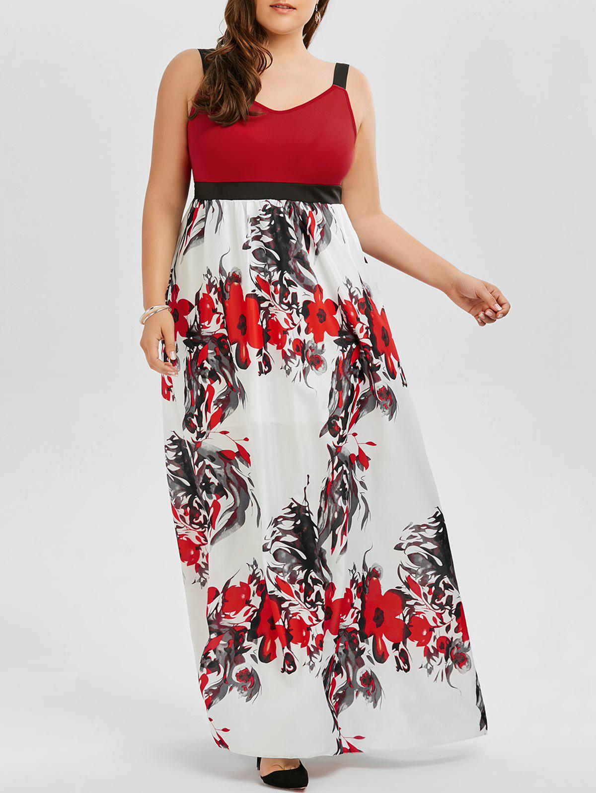 Floral A Line Maxi Plus Size Prom DressWOMEN<br><br>Size: 4XL; Color: COLORMIX; Style: Cute; Material: Polyester; Silhouette: A-Line; Dresses Length: Ankle-Length; Neckline: Spaghetti Strap; Sleeve Length: Sleeveless; Pattern Type: Floral; With Belt: No; Season: Summer; Weight: 0.3200kg; Package Contents: 1 x Dress;