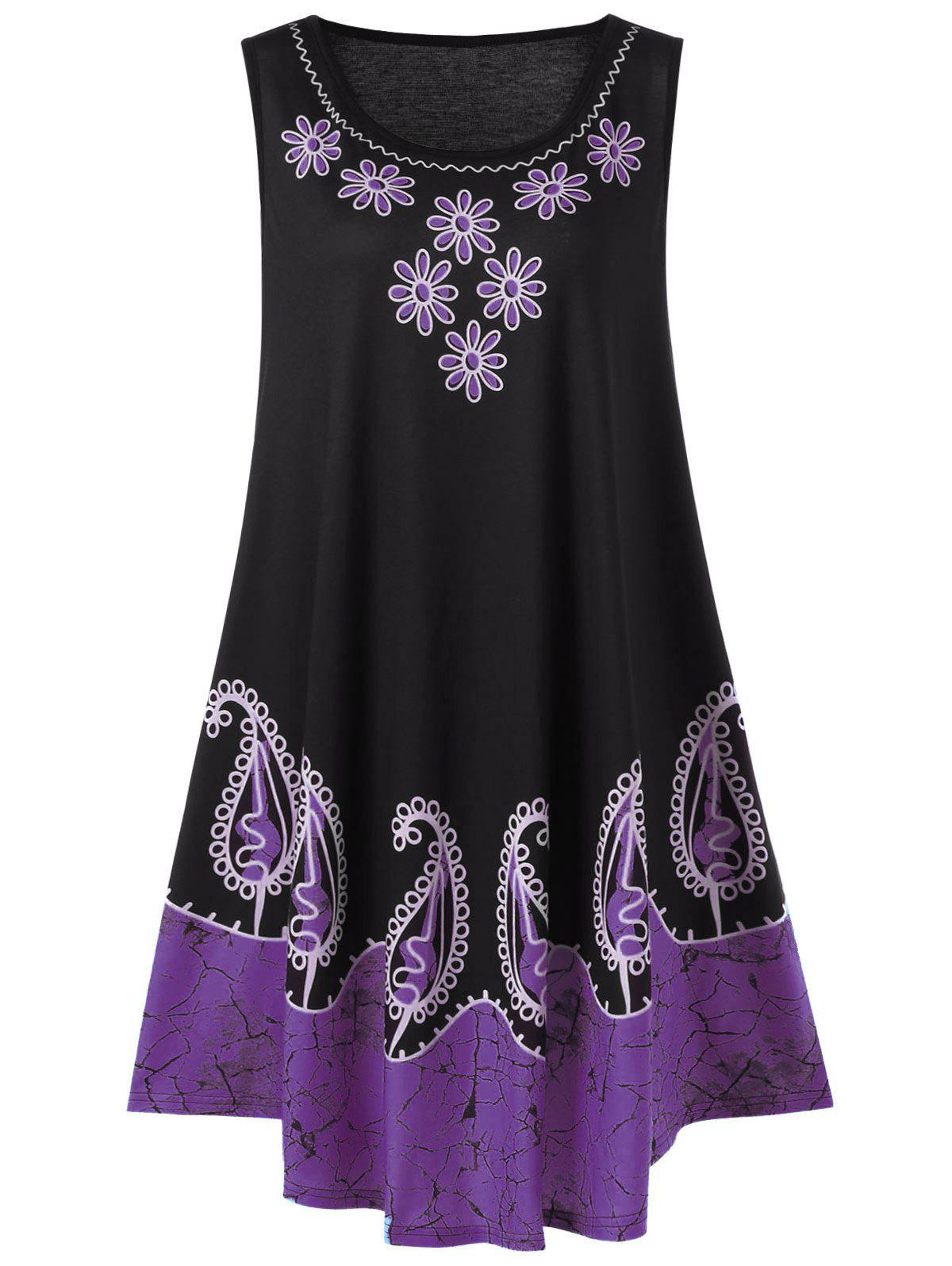 Plus Size Sleeveless Floral and Paisley Tank Tunic DressWOMEN<br><br>Size: 3XL; Color: PURPLE; Style: Casual; Material: Polyester,Spandex; Silhouette: A-Line; Dresses Length: Knee-Length; Neckline: Scoop Neck; Sleeve Length: Sleeveless; Pattern Type: Floral,Paisley; With Belt: No; Season: Summer; Weight: 0.4000kg; Package Contents: 1 x Dress;