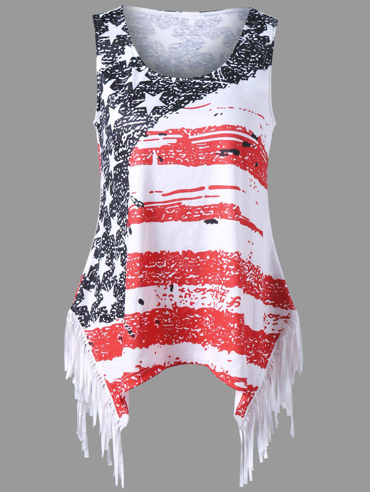 Cheap Fringe American Flag Tank Top