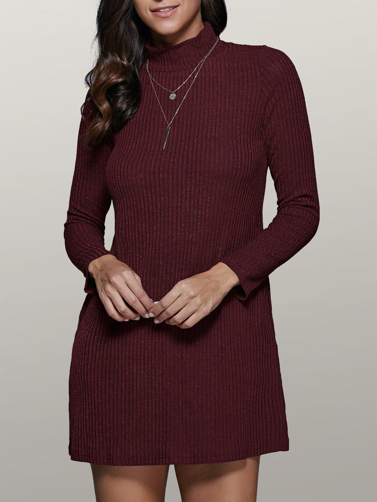 Outfits Long Sleeve High Collar Sweater Dress