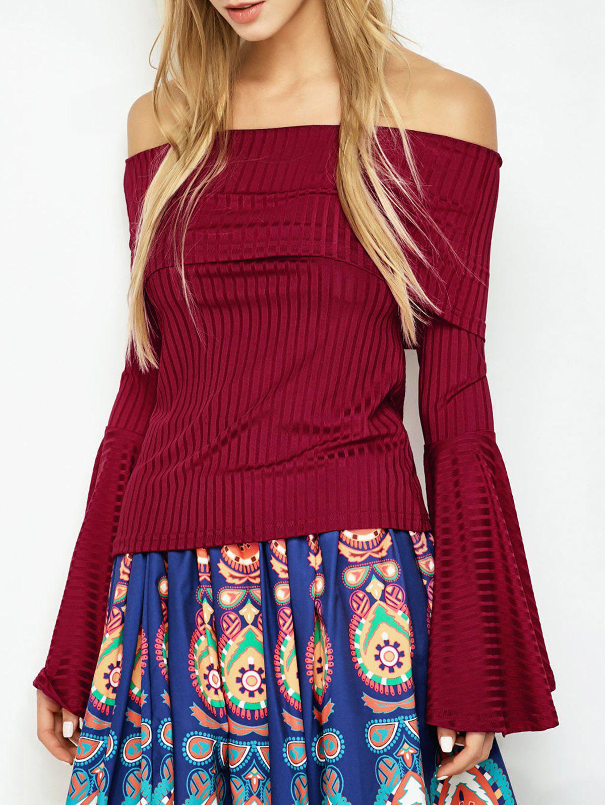 Outfits Bell Sleeve Off Shoulder T-Shirt