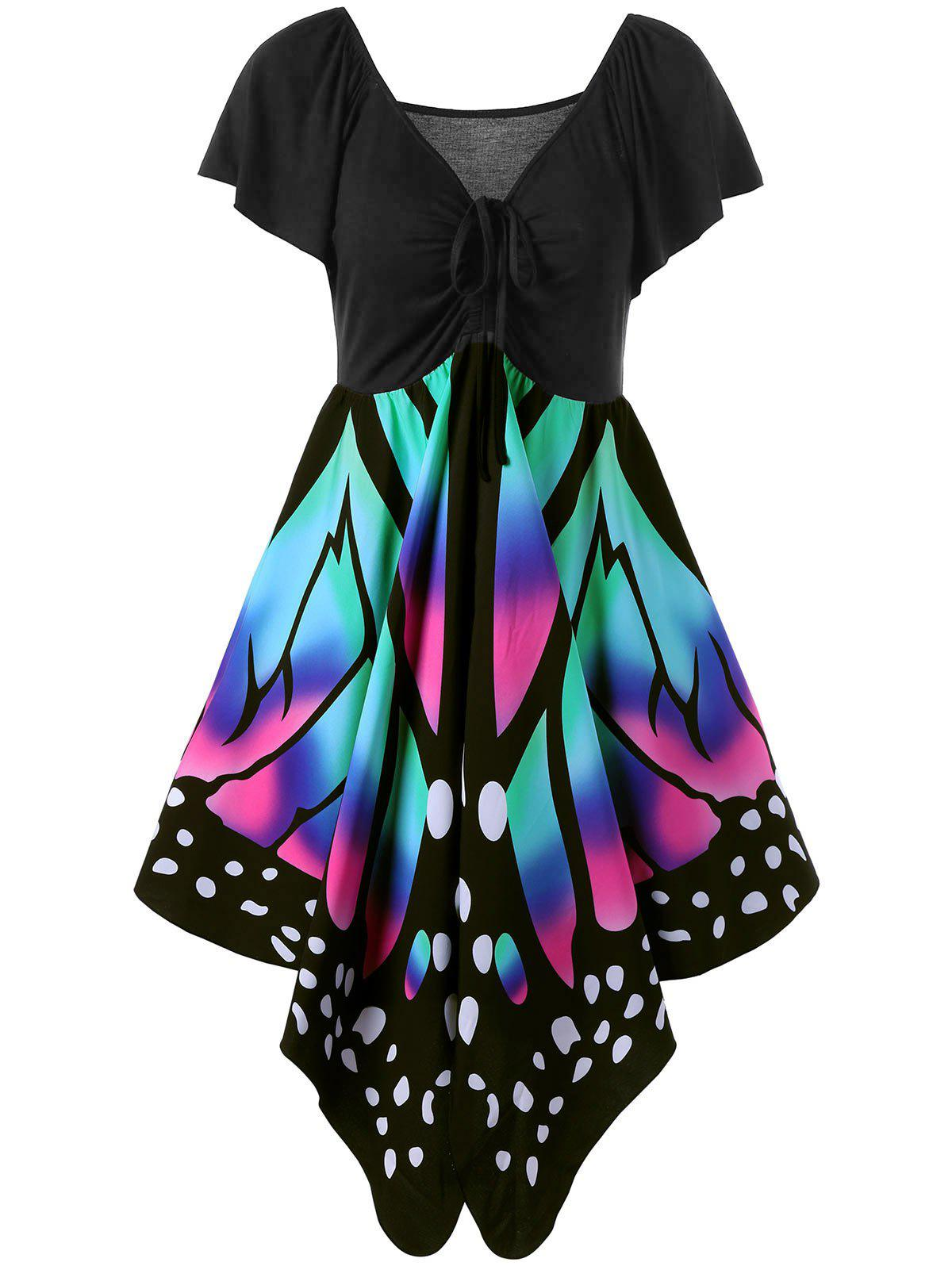 Butterfly Graphic DressWOMEN<br><br>Size: XL; Color: BLACK AND PINK; Style: Cute; Material: Polyester; Silhouette: Asymmetrical; Dresses Length: Mini; Neckline: V-Neck; Sleeve Length: Short Sleeves; Pattern Type: Print; With Belt: No; Season: Summer; Weight: 0.4200kg; Package Contents: 1 x Dress; Occasion: Casual;