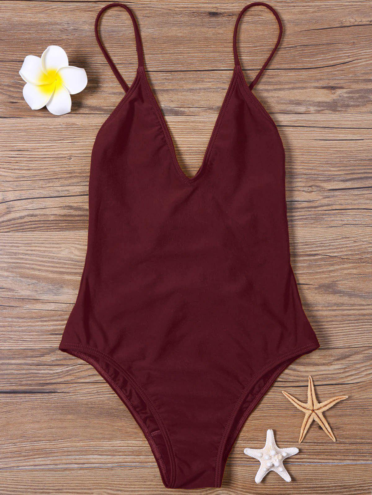 High Cut V Neck One Piece SwimsuitWOMEN<br><br>Size: 2XL; Color: DARK RED; Style: Sexy; Swimwear Type: One Piece; Gender: For Women; Material: Polyester,Spandex; Bra Style: Bralette; Support Type: Wire Free; Neckline: Spaghetti Straps; Pattern Type: Solid; Waist: High Waisted; Elasticity: Elastic; Weight: 0.2500kg; Package Contents: 1 x Swimsuit;