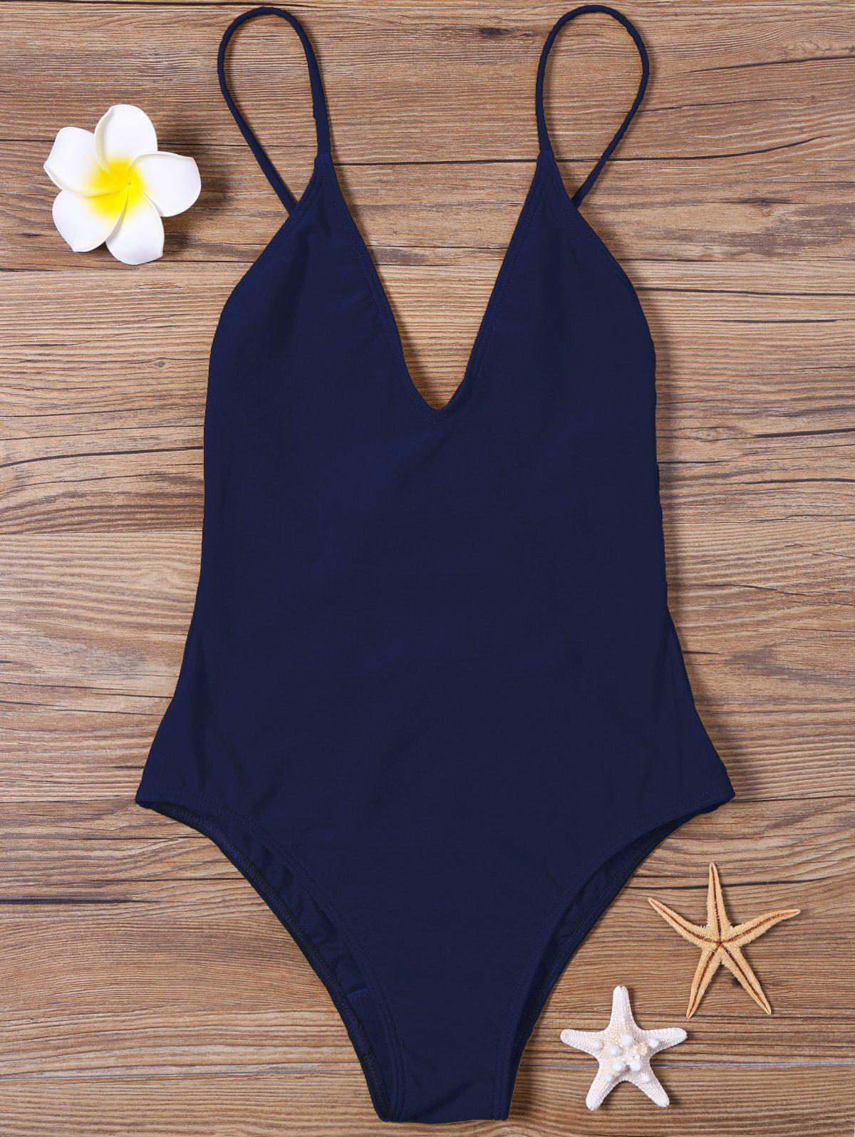 New High Cut V Neck One Piece Swimsuit