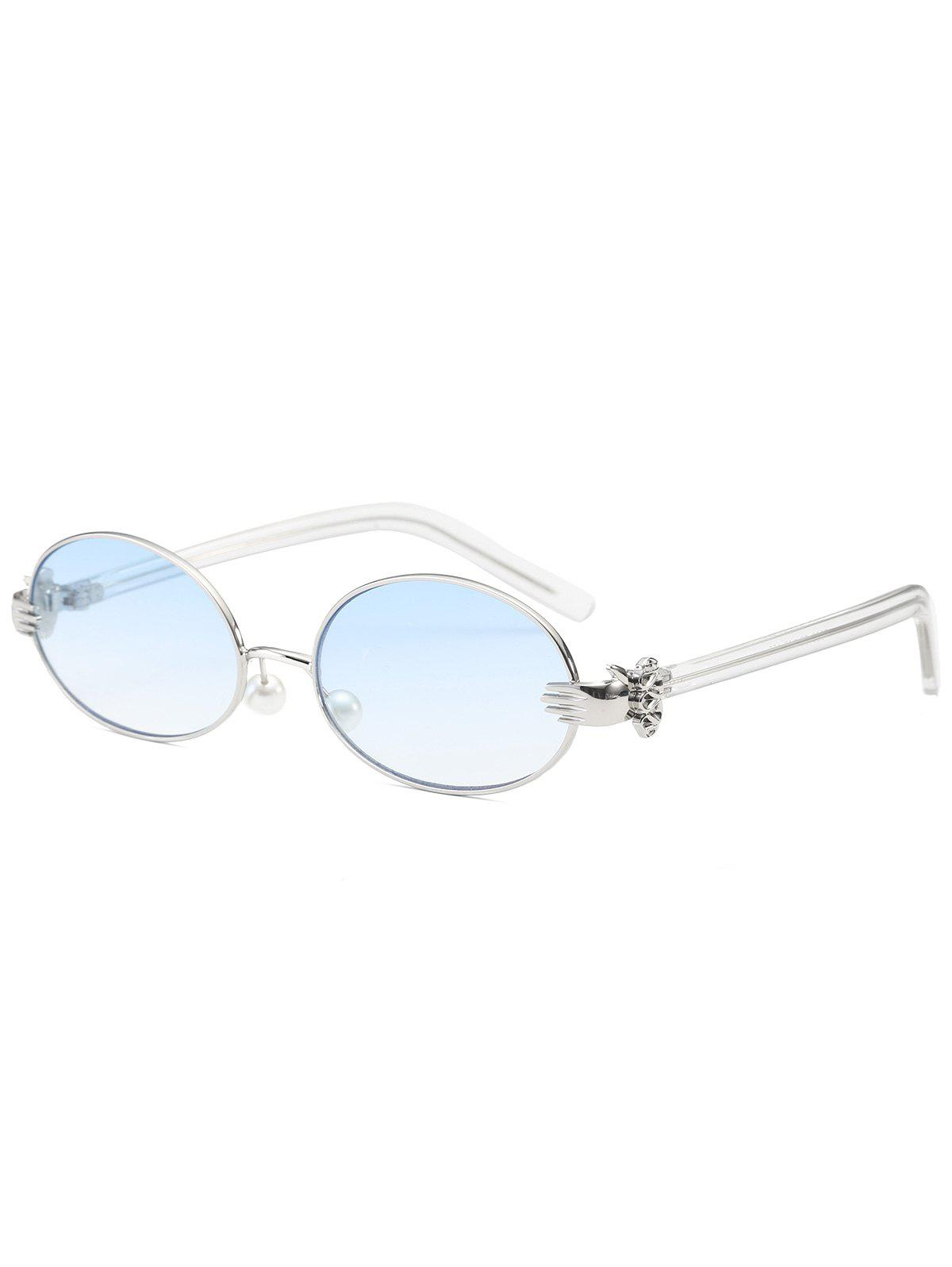 Oval Faux Pearl Nose Pad Metallic Hand SunglassesACCESSORIES<br><br>Color: LIGHT BLUE; Group: Adult; Gender: For Women; Style: Fashion; Shape: Oval; Lens material: Resin; Frame material: Other; Lens height: 3.8CM; Lens width: 5.6CM; Temple Length: 13.2CM; Nose: 1.7CM; Frame Length: 13.8CM; Weight: 0.1000kg; Package Contents: 1 x Sunglasses;