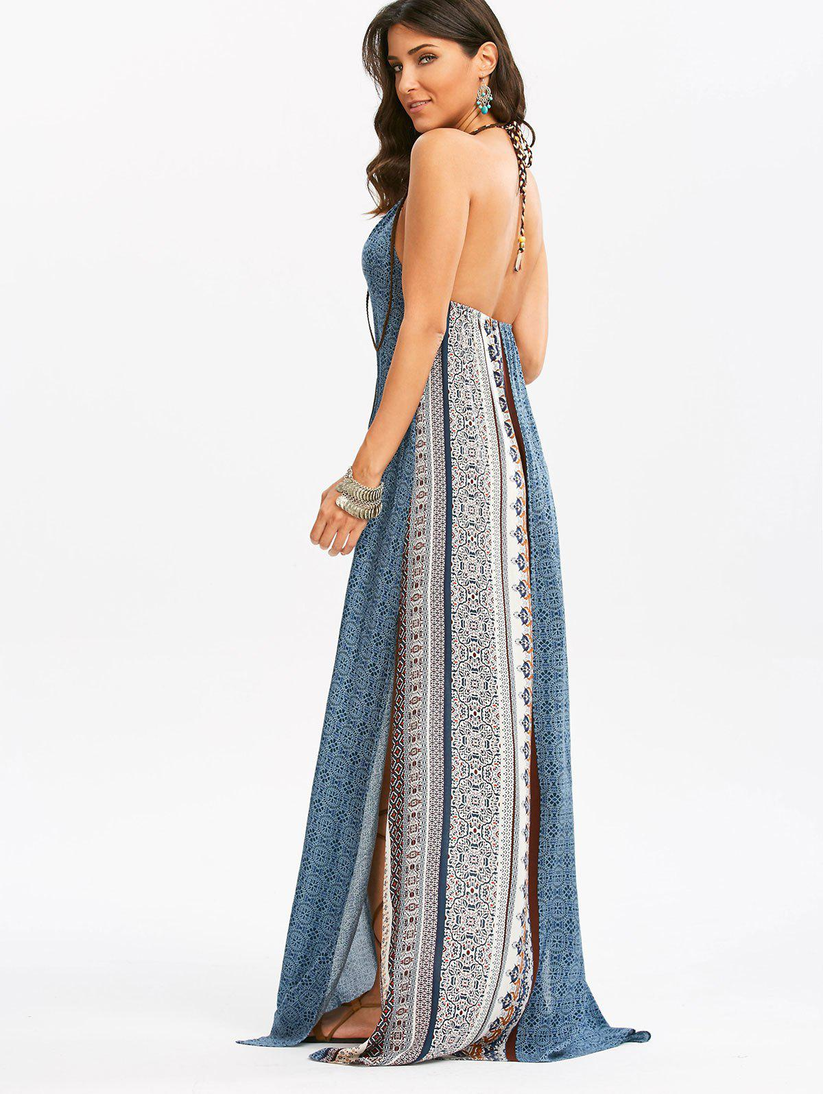 Trendy Maxi Backless Bohemian Slit Printed Casual Dress