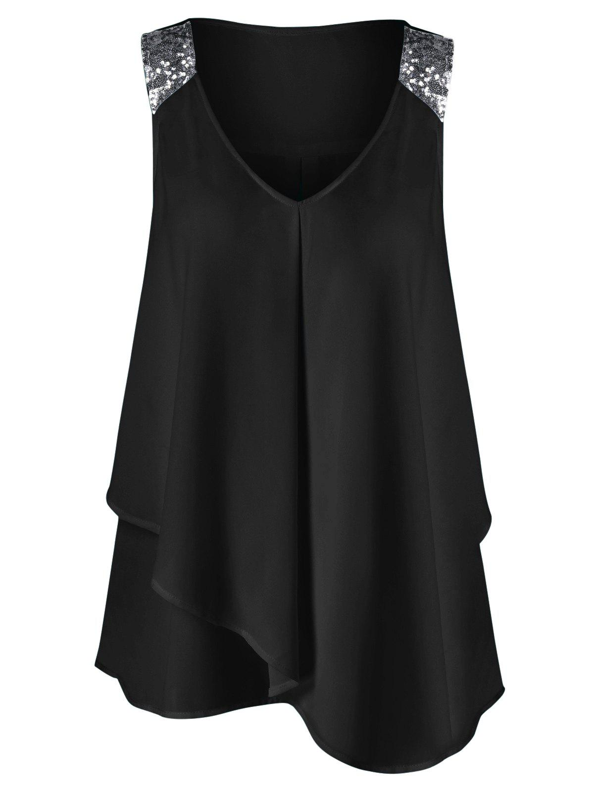Plus Size Sequined Sleeveless Shoulder Overlap BlouseWOMEN<br><br>Size: 5XL; Color: BLACK; Material: Polyester; Shirt Length: Long; Sleeve Length: Sleeveless; Collar: V-Neck; Style: Fashion; Season: Summer; Pattern Type: Others; Weight: 0.2200kg; Package Contents: 1 x Blouse;