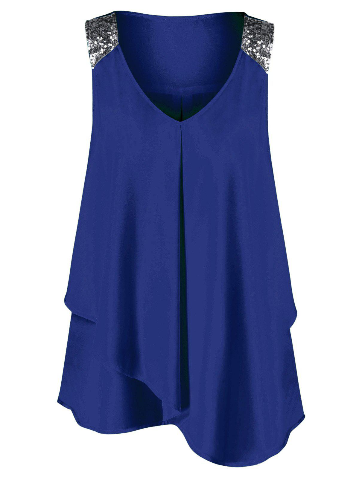 Plus Size Sequined Sleeveless Shoulder Overlap BlouseWOMEN<br><br>Size: 3XL; Color: ROYAL; Material: Polyester; Shirt Length: Long; Sleeve Length: Sleeveless; Collar: V-Neck; Style: Fashion; Season: Summer; Pattern Type: Others; Weight: 0.2200kg; Package Contents: 1 x Blouse;