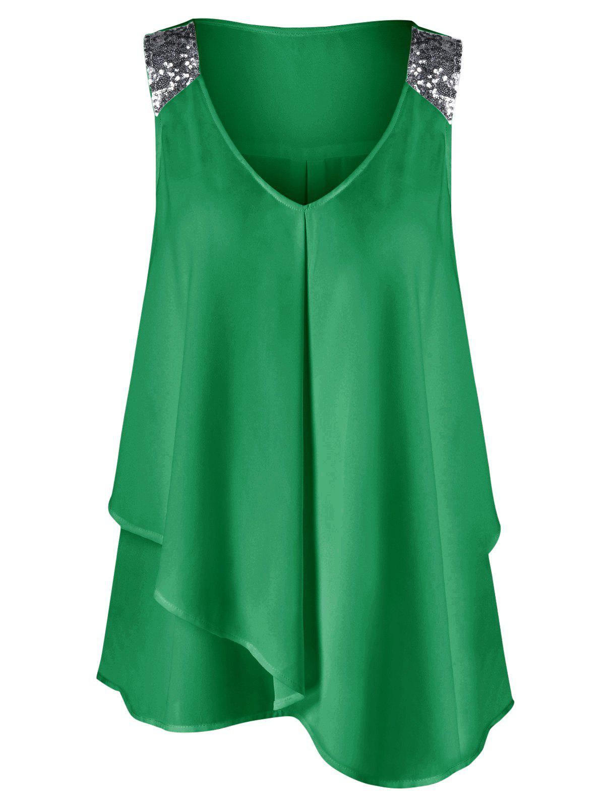 Plus Size Sequined Sleeveless Shoulder Overlap BlouseWOMEN<br><br>Size: 2XL; Color: GRASS GREEN; Material: Polyester; Shirt Length: Long; Sleeve Length: Sleeveless; Collar: V-Neck; Style: Fashion; Season: Summer; Pattern Type: Others; Weight: 0.2200kg; Package Contents: 1 x Blouse;