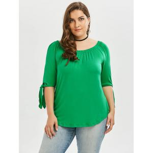 Plus Size Tied Sleeve Off The Shoulder Top - GREEN 2XL