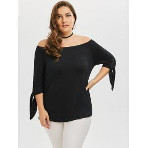 Plus Size Tied Sleeve Off The Shoulder Top - BLACK 5XL