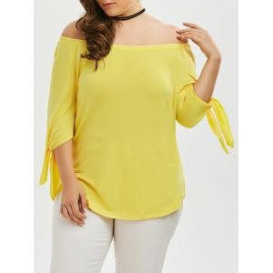 Plus Size Tied Sleeve Off The Shoulder Top
