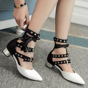 Buckle Straps Eyelets Pumps - White - 38