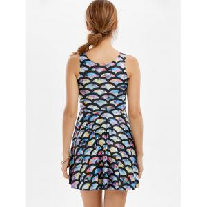 Sleeveless Fish Scale Print Mermaid Mini Dress -