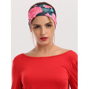 Athletic Elastic Floral Printed Wide Headband - Black