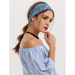 Hip-Pop Wide Geometrical Printed Elastic Headband - Blue