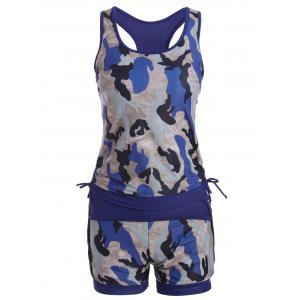 Sports High Waisted Camo Racerback Tankini Set - Deep Blue - M