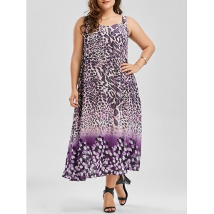 Plus Size Leopard Print Sleeveless Chiffon Dress