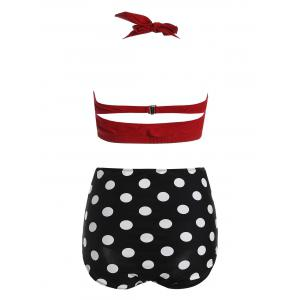 Polka Dot Plus Size Halter High Waist Bikini - Rouge 2XL