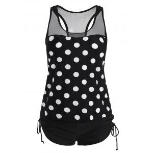 Racerback Plus Size Polka Dot Tankini Set - Black - 3xl