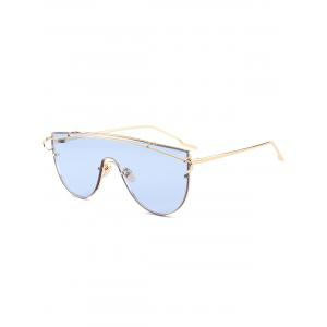 Shield Sunglasses with Metallic Long Crossbar - Light Blue