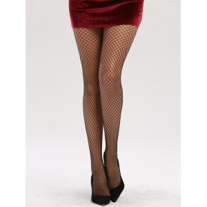 See Through Hollow Out Fishnet Tights - BRIGHT BLACK