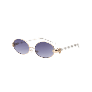 Oval Faux Pearl Nose Pad Metallic Hand Sunglasses -
