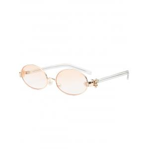 Oval Faux Pearl Nose Pad Metallic Hand Sunglasses - Pearl Light Pink