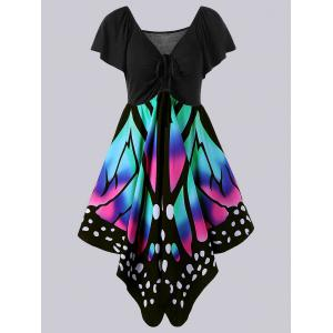 Plus Size Empire Waist Butterfly Pattern Dress - Black And Pink - Xl